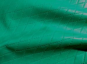 Lambskin lamb sheepskin leather hide Emerald Green Quilted Diamond Pattern