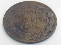 1909 Canada One 1 Cent Large Penny Canadian Circulated Edward VI Coin J824