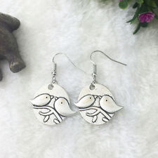 Cute New Tibetan Silver Dove / Love Bird Charm Dangle Drop Earrings
