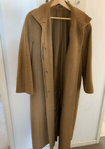 Vintage M&S Marks And Spencer Wool Mohair Alpaca Camel Coat Size 10-12
