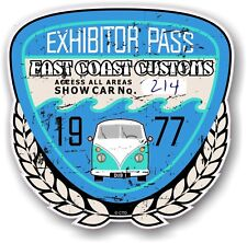 Rétro effet vieilli custom car show exposant pass 1977 vintage vinyl sticker decal
