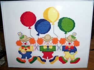 """FINISHED- FRAMED- 8"""" X 10 """" COUNTED CROSS STITCH- THREE CLOWNS"""