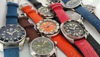 22mm Genuine STINGRAY watch strap band BLACK BLUE ORANGE fits SKX007 ...