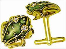 """Frog Cufflinks, Green Enamel on Pewter & Brass 5/8 x 5/8"""""""