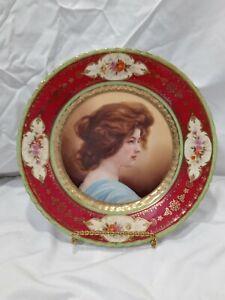 Antique Sevres Victoria Austria Portrait Porcelain Plate Red Border ca.1750