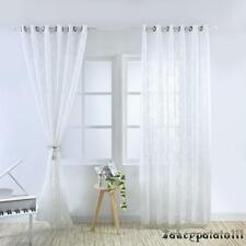1/2pc Voile Panel Net Curtain Slot Top Leaves Pattern Window Curtains Decoration
