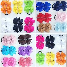 2 x Girls Hair Bows Bobbles kid Baby Ribbon Pony Elastic band 3'' Elastic School