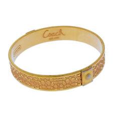 Coach Bangle Bracelet Signature Gold Woman Authentic Used Y2135