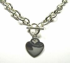 "Heart Charm Tag Toggle Solid Sterling Silver Link Necklace 18"" (90 grams)"