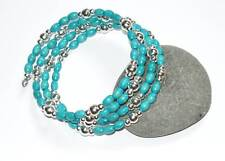 TURQUOISE WOOD & SILVER BEADS WRAP CUFF BRACLET