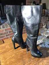 New Calvin Klein women 5.5 black leather knee-high fashion boots-high heels