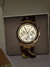 Michael Kors Women's Watch Chronograph Runway Twist~ Gold~Tortoise 38mm MK4222