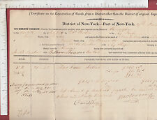 9657 Port of New York  & Philadelphia 1825 Export Certificate, ship Pacific