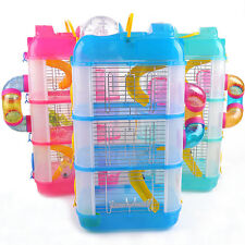 3 Layers Hamster Guinea Pig Acrylic Cage House Bed Water Feeder Slide Bowl Toy