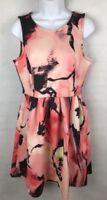 APT. 9 Dress Fit & Flare Skater Dress SZ 10 Coral Black Print Stretch Sleeveless