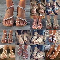 Boho Strass Perlen Blumen Sandalen Damen Sandaletten Flach Slides Sommer Schuhe