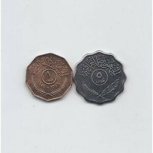 IRAQ 1959 1 FILS AND 1975 5 FILS KM # 119 and 125a UNCIRCULATED COINS SET