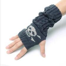 2016韓版骷髏頭半指手套秋冬保暖毛線手臂套露指手套