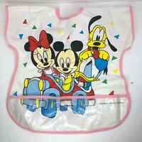 Vintage Mickey Minnie Mouse Pluto Plastic Baby Toddler Bib Crumb Catcher DISNEY