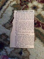 M8-8 Ephemera 1967 Football Report Norman Old Boys 6 Holt 3