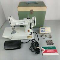 Vintage Singer White Featherweight Model 221K Portable Sewing Machine, w/ Case