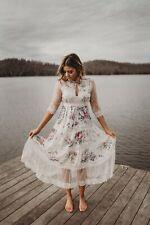 Floral Fields Flowers & Lace Chiffon Dress Midi S Small Vintage Style Romantic