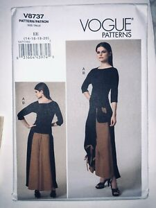 VOGUE Sew Pattern 8737 Drawstring Ruched Hi-Low Maxi Skirt + Knit Top 14-20