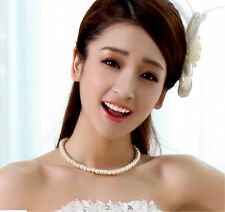 Fashion Pearl Women Freshwater Rice White Round Jewelry Wedding Party Necklace