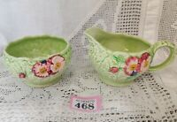 Vintage Melba Ware Milk Sugar And Sugar Bowl Set Green Leaf & Pink Flower Design