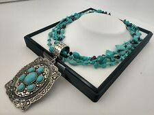 Tribal Style Faux Turquoise Dyed Howlite Crystal Necklace & Silver Tone Pendant