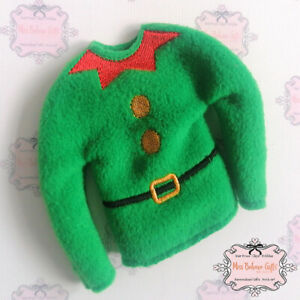 Elf on the Shelf Green Christmas Jumper Clothes accessory prop
