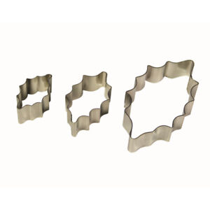 PME 3pk HOLLY LEAF Cut Out Stainless Steel Icing Cutters Sugarcraft Cake Dec