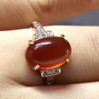 3 Ct Red Ruby Ring Women Wedding Engagement Birthday Jewelry 14K Rose Gold Plate
