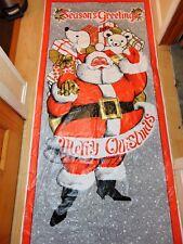 Vintage 3D Christmas Door Cover Cling Mural Window Plastic Film Santa Toys Red