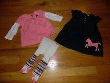Baby Girl 3 pc Carters Outfit Sz 9 months Navy Corduroy with Pink Pony!