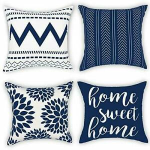 Throw Pillow Covers 18 x 18 Set of 4, Geometry Outdoor 18inchx18inch Blue