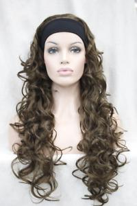 Women Wig Long Curly Wave Wig 3/4 Half Wigs Headband Cosplay Wig+Wig Cap