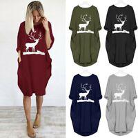 Womens Plus Size Loose Tops Long Sleeve Dress O Neck Long Pocket Christmas Dress
