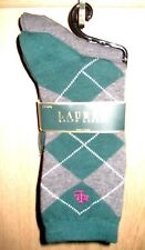 Lauren Ralph Lauren 2-Pack Green/Gray Tartan Trouser Sock 33580PK; 9-11/Hunter