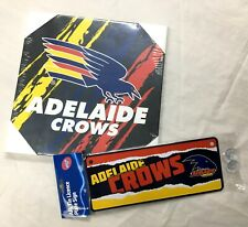 ADELAIDE CROWS AFL OFFICIAL FOOTY CANVAS WALL HANGING + METAL TIN NUMBER PLATE