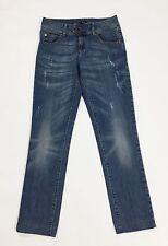 Oltre jeans donna w28 tg 42 43 gamba dritta stretta slim usati blu azzurri T1605