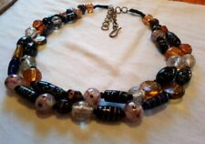 Heavy Double Strand Artisan Barrel Chunky glass Bead Necklace lampwork twist