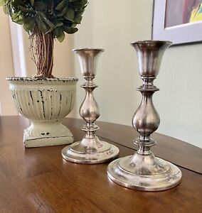 "Vintage Sheridan Silver Co.Candlesticks 7""Silver in copper set of 2"