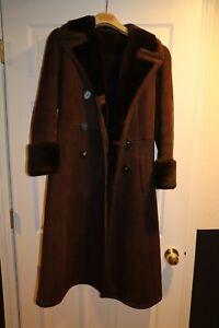 Vintage - Sawyer Napa Californian Spring Lamb Shearling Coat Leather Jacket 10