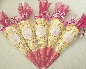 10x Popcorn Filled baby Shower Party Cones Personalised +free Sweety Bag