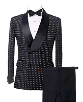 Mens Suits Double Breasted Houndstooth Groom Shawl Lapel Tuxedos Wedding Suits