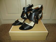 MICHAEL KORS LUCINDA OPEN TOE BLACK LEATHER STRAPPY CAGE SEXY HEELS SHOES NIB 8