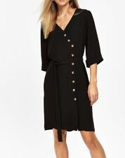 NEW ex Wallis BLACK Button Asymmetric Tie Wrap Dress, sizes 8 10 12 14 16 18 20