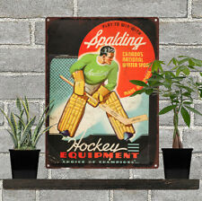 Spalding Hockey equipment Advertising Ad Baked Metal Repro Sign 9 x 12 60078
