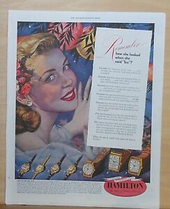 1949 magazine ad for Hamilton Watches - For the one you love, Leland Jones art